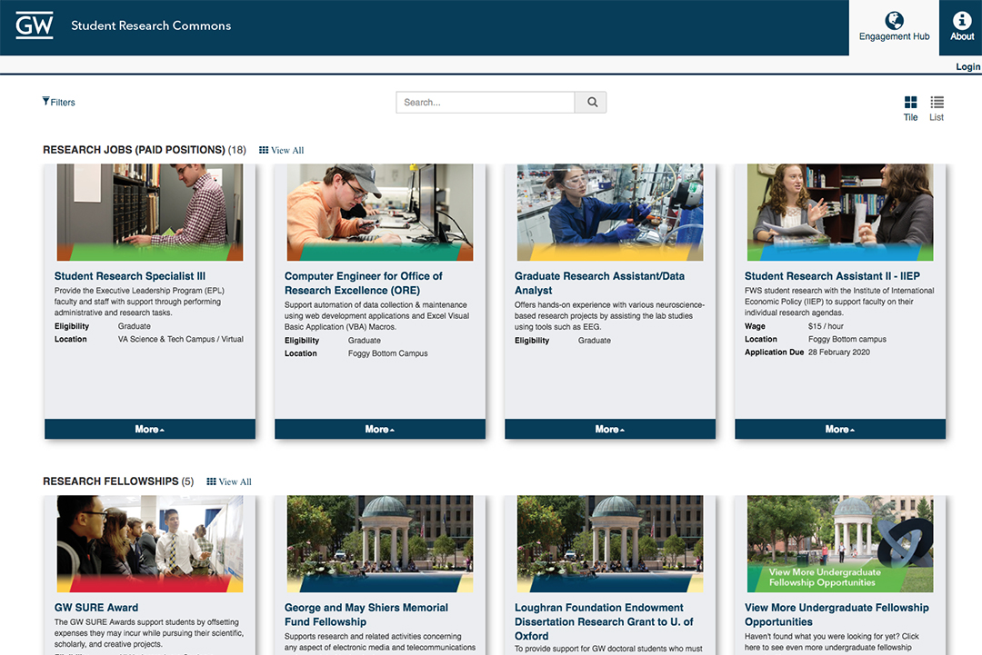 Screenshot of GW Student Research Commons