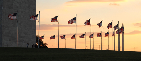Flags at the base of the Washington Monument