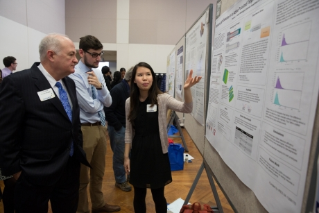 President Knapp and students listen to an undergraduate research presentation, 2015..